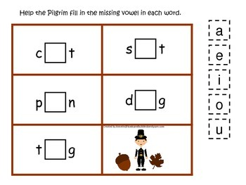 Thanksgiving themed CVC #3 preschool homeschool vowel activity.  Curriculum.