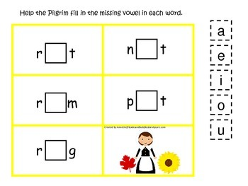 Thanksgiving themed CVC #4 preschool homeschool vowel activity.  Curriculum.