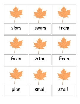 Thanksgiving-themed Card Game for -an, -am, and -all Words