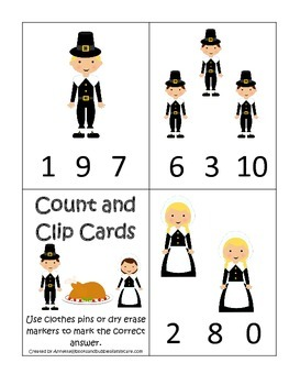 Thanksgiving themed Count and Clip Cards child curriculum game.  Daycare.