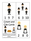 Thanksgiving themed Count and Clip Cards child curriculum