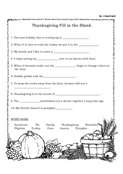 Thanksgiving themed Fill in the Blank with Thanksgiving Vocabulary