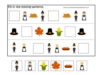 Thanksgiving themed Fill in the Missing Pattern child curriculum game.  Daycare.