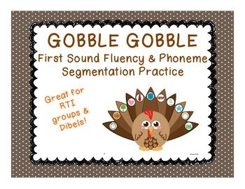 Thanksgiving themed First Sound Fluency and Phoneme Segmen