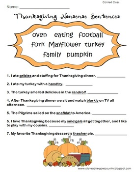 Thanksgiving Language Arts (6 worksheets) for 3rd grade