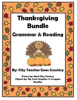 Thanksgiving Language Arts (6 worksheets) for 3rd grade