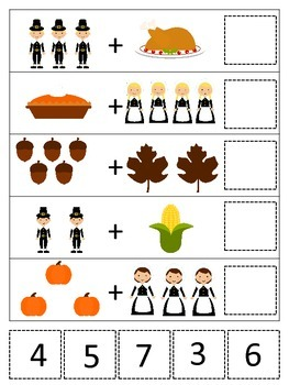 Thanksgiving themed Math Addition preschool printable game.  Daycare curriculum.