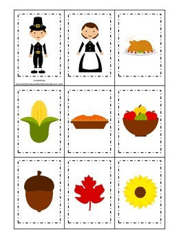 Thanksgiving themed Memory Matching child curriculum game.  Daycare.