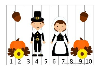 Thanksgiving themed Number Sequence Puzzle child curriculum game.  Daycare.