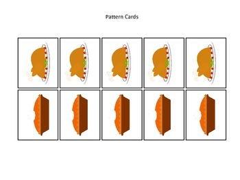 Thanksgiving themed Pattern Cards #3 preschool printable activity.  Daycare curr