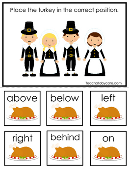 Thanksgiving themed Positional Game.  Printable Preschool Curriculum Game