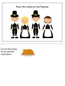 Thanksgiving themed Postional Cards preschool learning activity. Daycare curricu