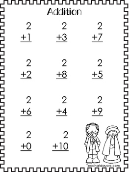 Thanksgiving themed Printable Addition Worksheets. Adding Numbers 1-10