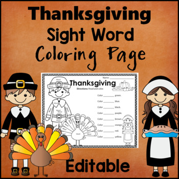 Thanksgiving themed Sight Word Activity Sheet  *Editable*