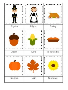 Thanksgiving themed Three Part Matching child curriculum game.  Daycare.