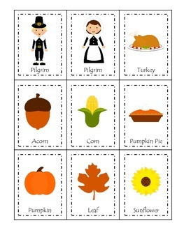 Thanksgiving themed Three Part Matching child curriculum g