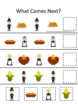 Thanksgiving themed What Comes Next child curriculum game.  Daycare.