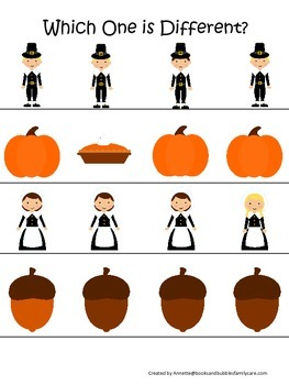 Thanksgiving themed Which One is Different child curriculum game.  Daycare.
