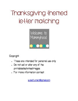 Thanksgiving themed capital letter matching and spelling worksheet
