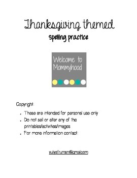 Thanksgiving themed spelling printable