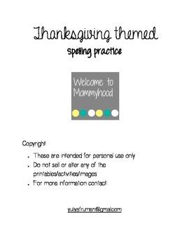 Thanksgiving themed spelling printable