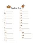 Thanksgiving themed spelling test sheet