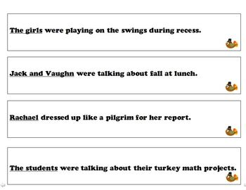 Thanksgiving themed subject and predicate pack