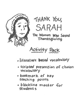 """Thanksgiving-themed vocabulary lesson to be used with """"Thank You, Sarah"""""""