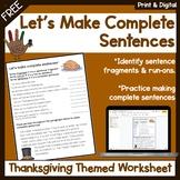 Thanksgiving themed worksheet: writing complete sentences