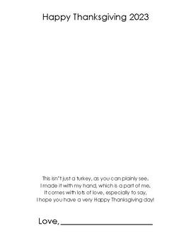 Thanksgiving turkey hand print poem tempate