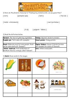 Thanksgiving vocabulary and phonetics