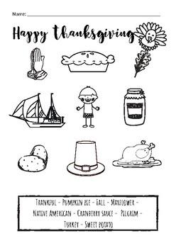 Thanksgiving vocabulary worksheet