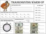 Thanksgiving warm up Worksheet