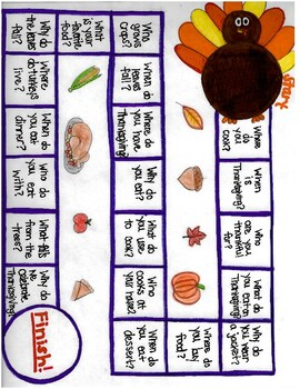 Thanksgiving wh-question board game