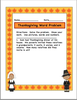 Thanksgiving word problems for first grade