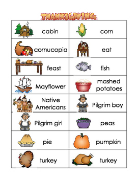 Thanksgiving word wall and picture dictionary