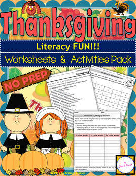 Thanksgiving worksheets and Activities Pack