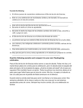 Thanksgiving worksheets for Spanish 1, 2 & 3