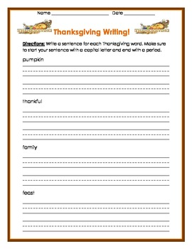 Thanksgiving- write a sentence for each vocab word