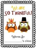 Thanksgiving writing activity - class book!