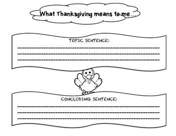 Thanksgiving writing graphic oranizer