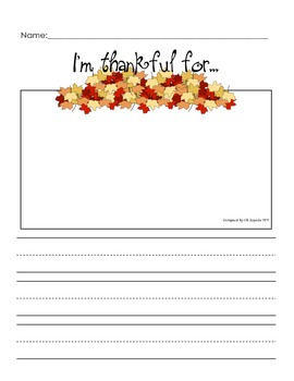 Thanksgiving writing paper- I'm thankful for...