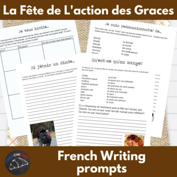 Thanksgiving writing prompts for French levels 1-4
