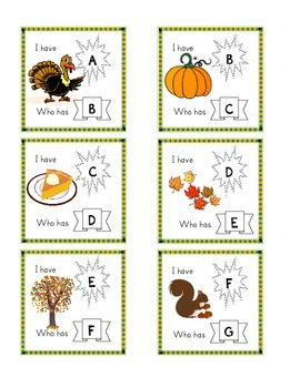 Thanksgiving/Autumn themed I Have, Who has ABC cards