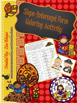 Autumn/Fall Slope Intercept Form Coloring Activity
