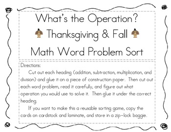 Thanksgiving/Fall What's the Operation Math Word Problem Sort