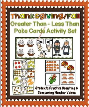 Thanksgiving/Fall~Greater Than-Less Than Poke Cards Activity Set