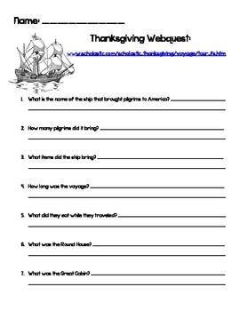 Thanksgiving/Mayflower Webquest