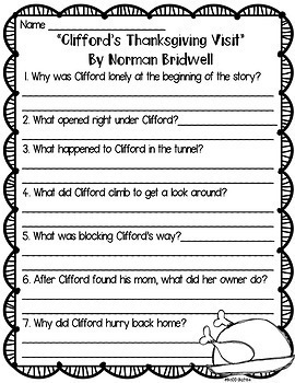 Thanksgiving/Pilgrim Books Comprehension Questions