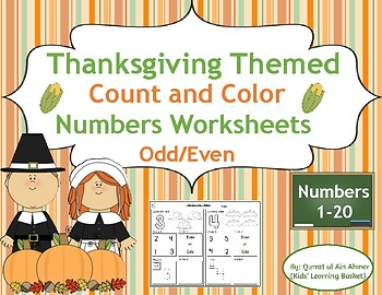 ThanksgivingThemed Numbers Worksheets(1-20)Count,Color,Trace, Circle Evenor Odd